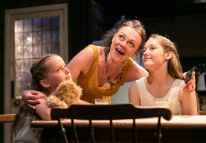 Charlotte Pourret Wythe as Young Lily, Gillian Kirkpatrick as Anna and Sophie Pourret Wythe as Young Laura in The House of Mirrors and Hearts. Photo Credit Darren Bell  (3)